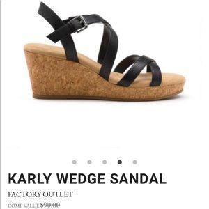 Bass wedge cork leather sandals Size 8